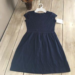 Carter's Navy Blue Cotton Lace Top Summer Dress
